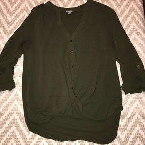 Charlotte Russe | Dark Green 3/4 Sleeve Blouse